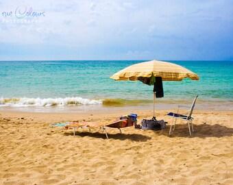 Beach Photography, Beach Print, Living Decor, Wall Art, Tranquil, Sea and Sand, Umbrella, Deckchair. Cambrils Beach, Costa Dorada, Spain.