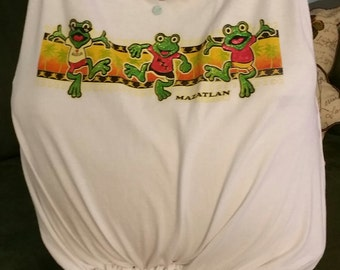 Handmade t-shirt bag, jumping happy frogs