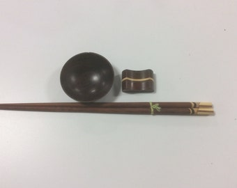Vintage Teak Inlaid Chopsticks with Matching Chopstick Rest and Soy Bowl