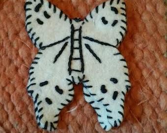 Vintage handmade felt butterfly brooch