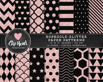 14 Rose gold and Black Glitter Pattern Papers, Commercial use, Digital Paper, Glitter digital scrapbooking paper, polka dots, chevron,