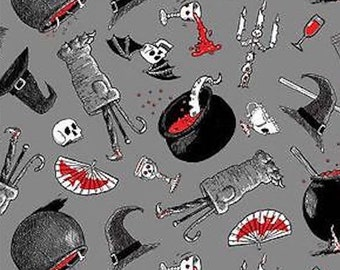 """Oddities Halloween Potions & Brew witch 100% cotton 43"""" fabric by the yard 36"""" ***K35***"""