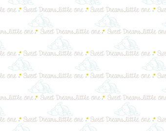 "Disney Fabric - Dumbo Fabric - Dumbo Script ""Sweet Dreams Little One""  100% cotton fabric 43"" wide, E65"