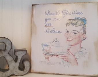 Vintage Pyrex Ad Decorative Wood Sign