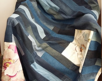 Denim patchwork quilt