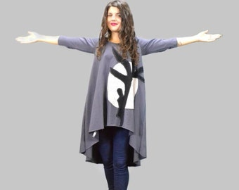 Gray cotton loose tunic / women applique tunic / full moon tunic / asymmetrical tunic / gift for her / unique style tunic