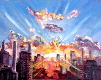 "Original Oil Painting, Sunrise at City, 16""x20"", 1610072"