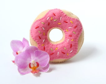 Donut Toy, Felt Donut, Pink Donut Toy, needle pillow