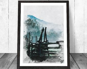 Landscape Print, Fence Print, Landscape Art, Country Print, Landscape Painting, Country Home Decor, Landscape Printable, Instant Download