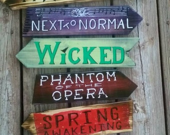 Broadway weathered rustic wood direction sign. Wall mount.