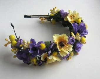 Purple floral crown Flower headband Hair Vine Bridal headband Flower crown Flower wreath Hair band Headwear Festival Garland Wedding circlet