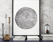 Tree Stump Tree Rings 11x17 & A4 ink blot, log rings, Black and white, tree poster, tree art, log stamp, log print, Tree print, gifts under