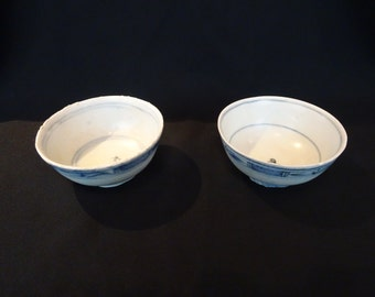 Pair of Chinese Antique 19th C. Small Blue and White Porcelain Bowls