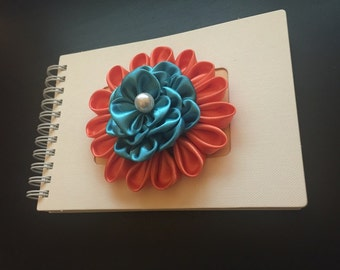 3D Handcrafted Pearl Flower Spiral Notebook/Journal