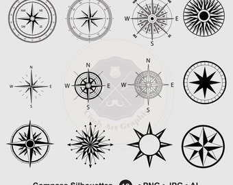 Compass Silhouettes Clipart,compass clipart,silhouettes clipart,digital download