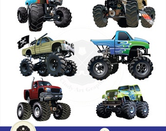 Monster Trucks Clipart,big monster trucks,transport clipart,digital download