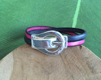Leather strap grey and fuchsia