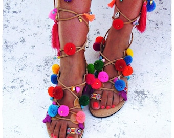 Tie up gladiator sandals,Boho  sandals,leather sandals,handmade sandals,Greek sandals,tie up sandals,pom pom sandals