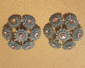 Vintage Blue Flower Burst Clip On Earrings