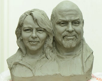 Custom Double Heads Clay Sculpture(Medium size)