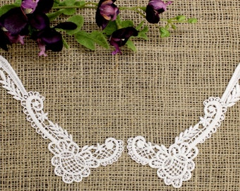 White Floral Peter Pan Lace Collar