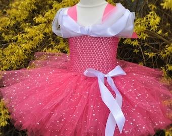 Disney Sleeping Beauty Princess Aurora inspired Handmade Tutu Dress - Birthday, Party, Photo Prop, Pageant, Fancy Dress, Halloween
