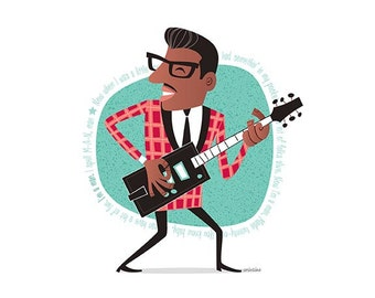 Bo Diddley, 50s Rock & Roll, Instant Digital download, Printable Illustration, pioneer of rock and roll, Rockabilly, Retro illustration