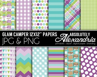 Glam Camper Digital Papers - Personal & Commercial Use - Camping Paper, Camp Graphics, Patterns, Glamping Party Scrapbook Page Kit