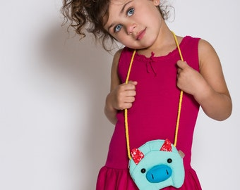 Girls Piggy Purse - Aqua