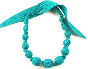 Girls Beaded Cloth Necklace - Teeny Dots - Green