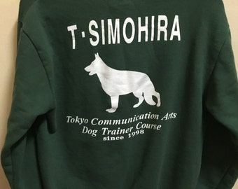 Vintage 90's Tokyo Communication Art Sport Classic Design Skate Sweat Shirt Sweater Varsity Jacket Size L #A321