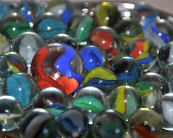 Vintage Cat's Eye Marbles 1960's- Lot of 51 retro glass marbles