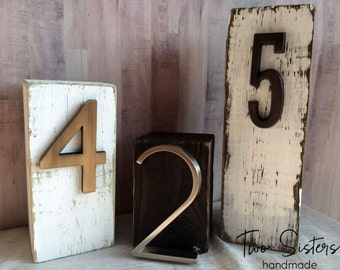 Custom Block Table Numbers, Wood, Distressed, Wedding Table Numbers, Personalized