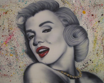 "Marilyn Monroe,Marilyn Monroe Painting Original Airbrush and acrylic painting on canvas,  by Tomer Sharabani  Painting ""39 ""70 (100X180 cm)"