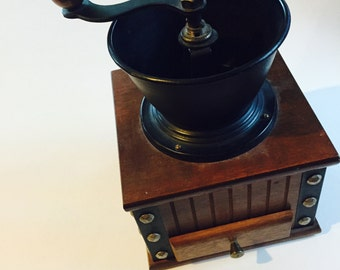 Vintage coffee grinder with drawer