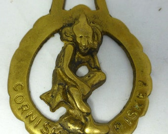 Vintage English Shire Horse Brass Medallion with Cornish Piskey - collectible