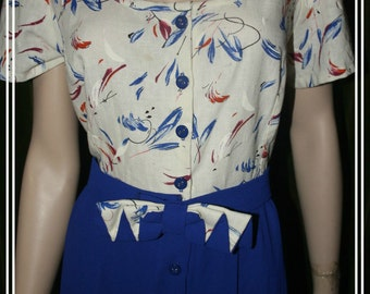 Vintage button down day dress with bow belt