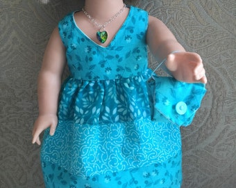 Handmade Dress, Purse and Necklace that fits American Girl and other 18 Inch Dolls