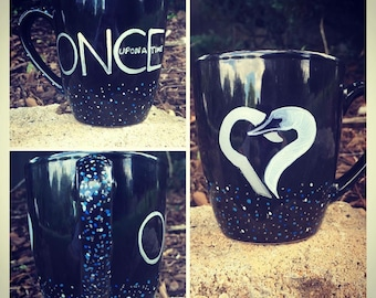 Once Upon A Time Inspired Hook/Swan Heart Coffee Mug - Made to Order