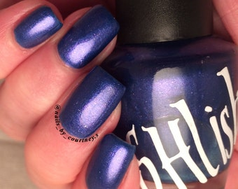 "Unique ""Midnight Sky"" Sparkling Pearl Blue Nail Polish Full Size 15ml Bottle"