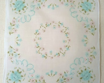 Vintage Handkerchief - Baby Blue Asters with Small Daisies