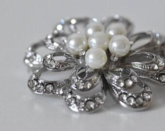Silver Vintage-Look Flower and Pearl Bridal Brooch