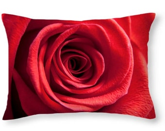 Throw pillow of a red rose close macro nature flower flowers floral love romance pretty natural red velvet rosa valentines petals deep