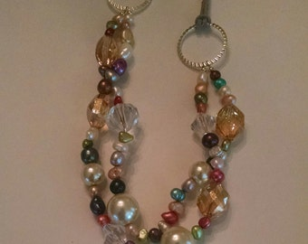 Freshwater Pearl and suede necklace