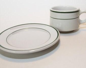 Shenango China White Cup and Plate Set, Green Stripes Restaurant Ware, EUC