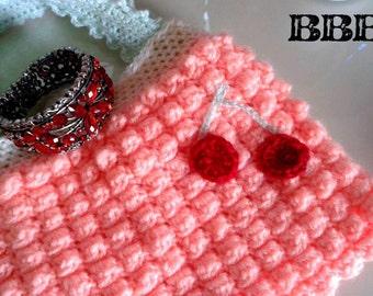 Handmade Bag Vanity Lined Peach Cherries Crocheted Acrylic Make-up Jewellery