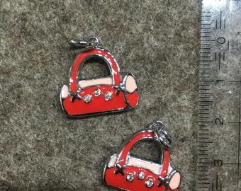 SALE - enameled charm/pendant 'Handbag red/pink' - 19x19mm - was 1.60 Euro
