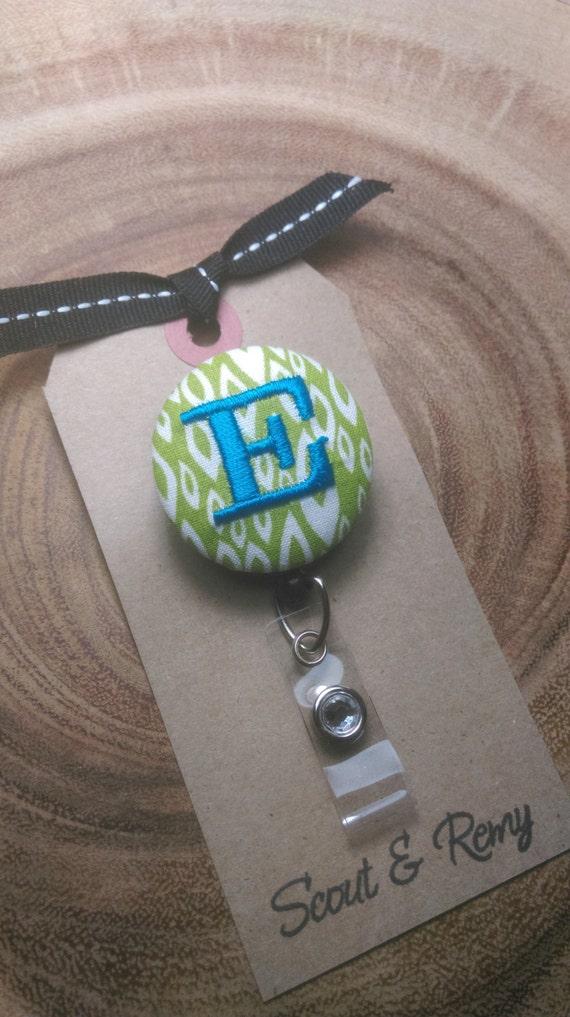 Monogram Retractable Badge Reel - Green Modern
