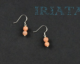 Natural Sunstone and sterling silver earrings