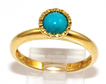 Sterling Silver Gold Vermeil Turquoise Ring Size 9.5